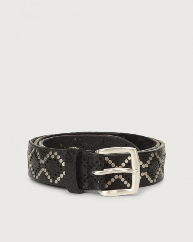 Orciani Frog micro-studs leather belt Embossed leather Black