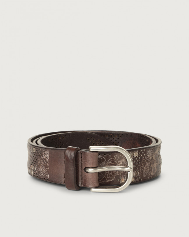 Orciani Stain Soapy leather belt with micro-studs Leather Chocolate