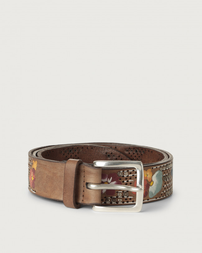 Orciani Asian hand-painted leather belt Leather Cognac