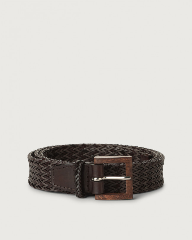Orciani Cusp leather and cotton belt with wooden buckle Leather & fabric Chocolate