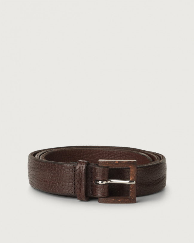 Orciani Grit embossed leather belt with wooden buckle Embossed leather Brown