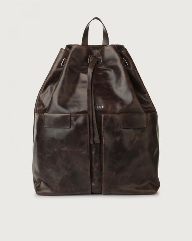 Orciani Artik leather drawstring backpack Leather Chocolate