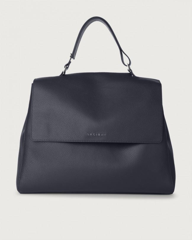 Orciani Sveva Micron large leather shoulder bag with strap Navy