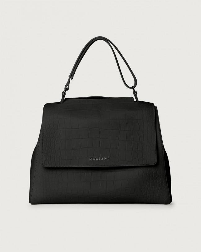 Orciani Sveva Kindu medium croc-effect leather shoulder bag with strap Embossed leather Black