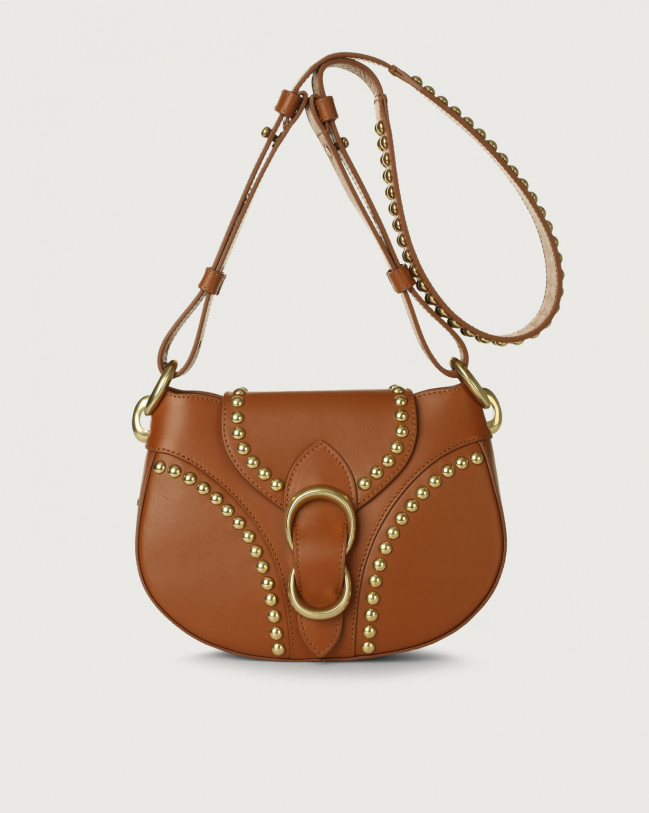 Orciani Beth Piuma Ball leather crossbody bag with brass details Leather Cognac