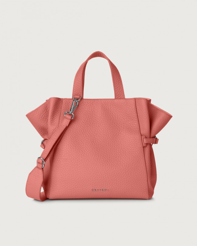 Orciani Fan Soft medium leather handbag Leather Bubble pink