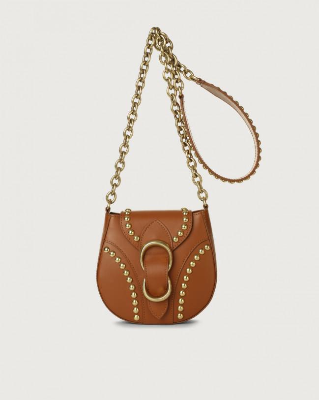 Orciani Beth Piuma Ball small leather crossbody bag Leather Cognac