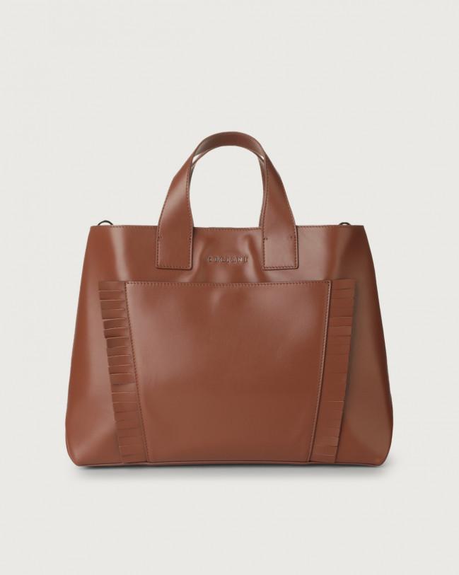 Orciani Nora Liberty Fringe large leather handbag Leather Cognac