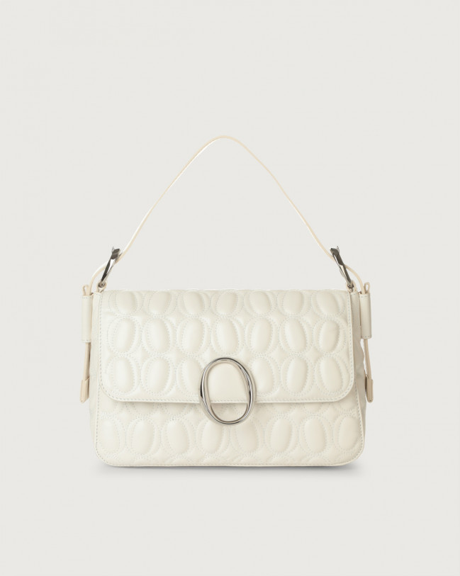 Orciani Soho Matelassé leather baguette bag with strap Leather White