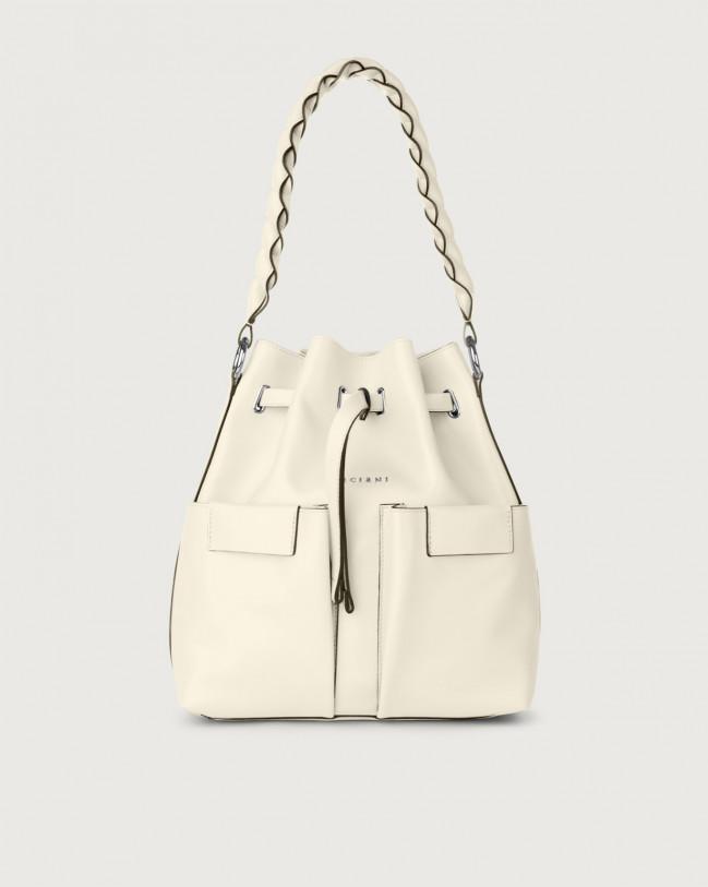 Orciani Tessa Liberty medium leather bucket bag Leather White