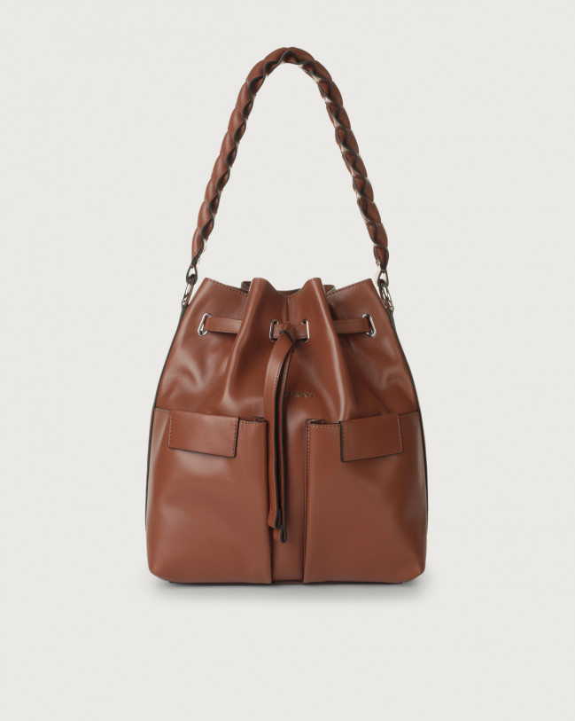 Orciani Tessa Liberty medium leather bucket bag Leather Cognac