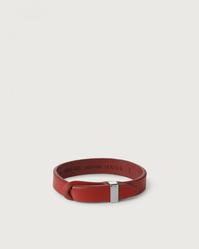 Orciani Bull leather Nobuckle bracelet with silver detail Leather Red
