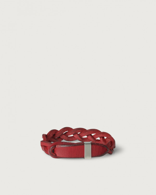 Orciani Walk leather Nobuckle bracelet with silver detail Leather Red