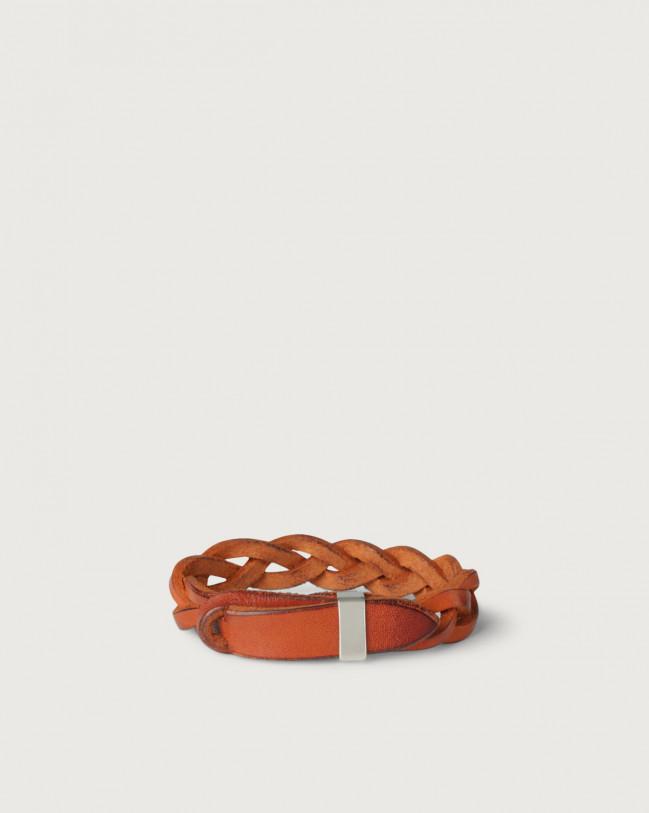 Orciani Walk leather Nobuckle bracelet with silver detail Leather Orange