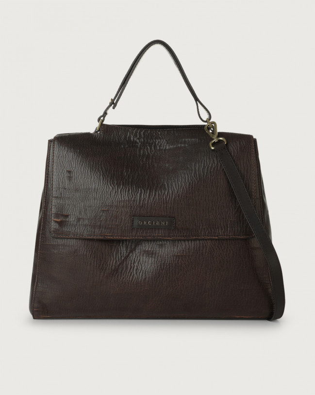 Orciani Sveva Cutting large leather shoulder bag with strap Leather Chocolate