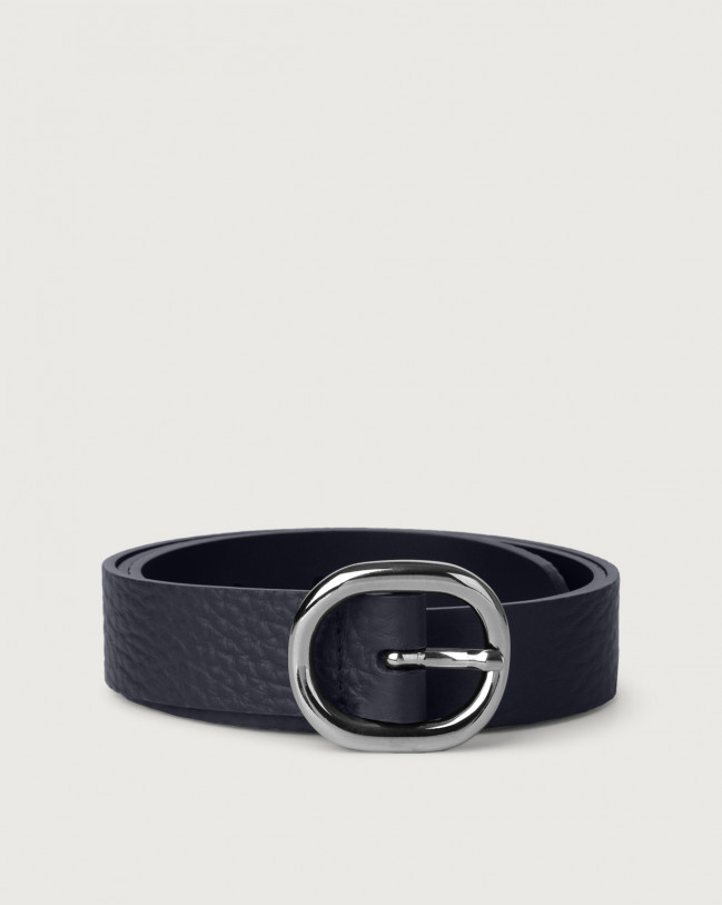 Orciani Soft leather belt 3 cm Leather Navy