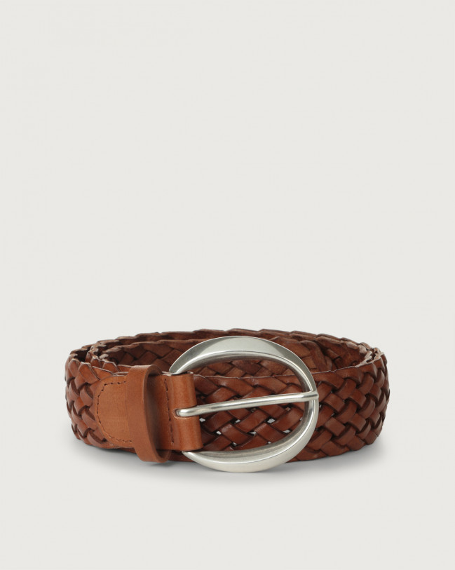 Orciani Masculine braided leather belt 3,5 cm Leather Cognac
