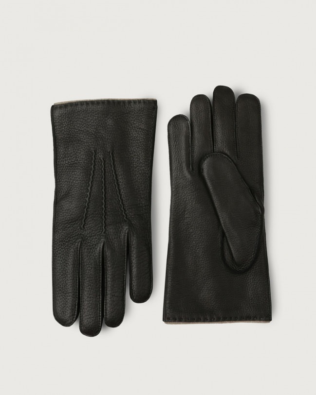 Orciani Cervo leather gloves Cashmere, Leather, Wool Black