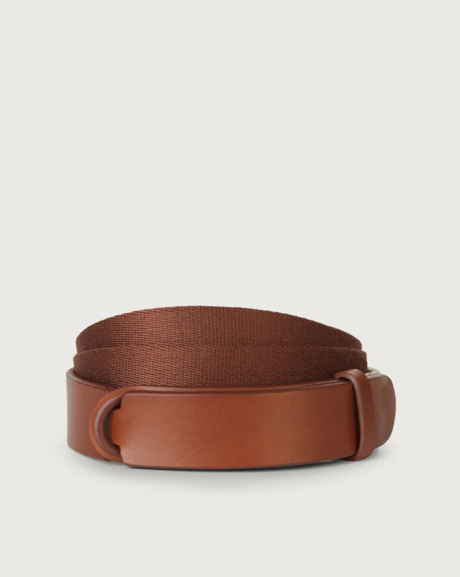 Orciani Bull Leather and fabric Nobuckle belt Leather & fabric Cognac