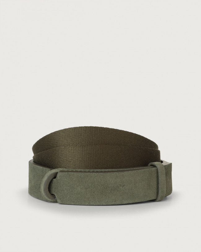 Orciani Suede and fabric Suede Nobuckle belt Canvas, Suede Military green