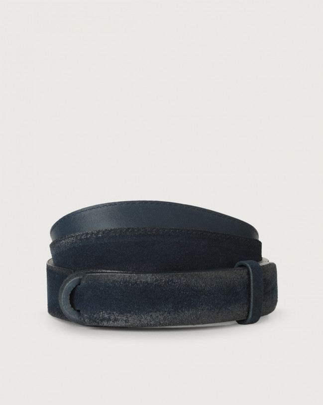 Orciani Cloudy suede Nobuckle belt Leather, Suede Blue