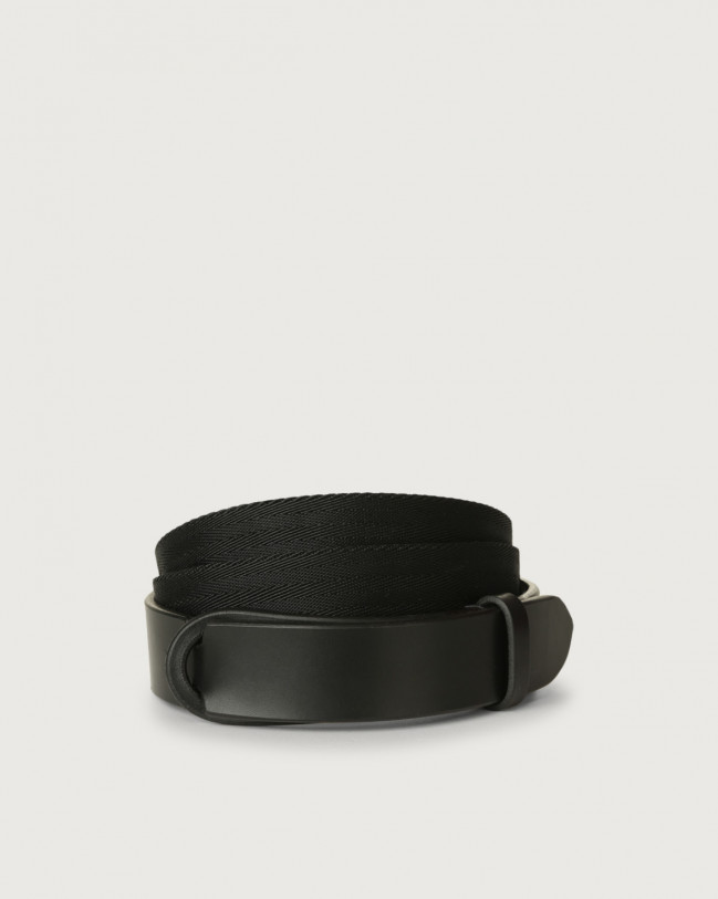 Orciani Leather and recycled fabric Eco-logic Nobuckle belt Leather & fabric Black