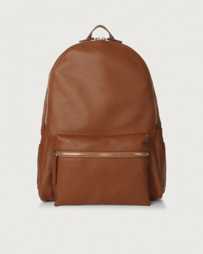 Orciani Micron leather backpack Leather Burnt