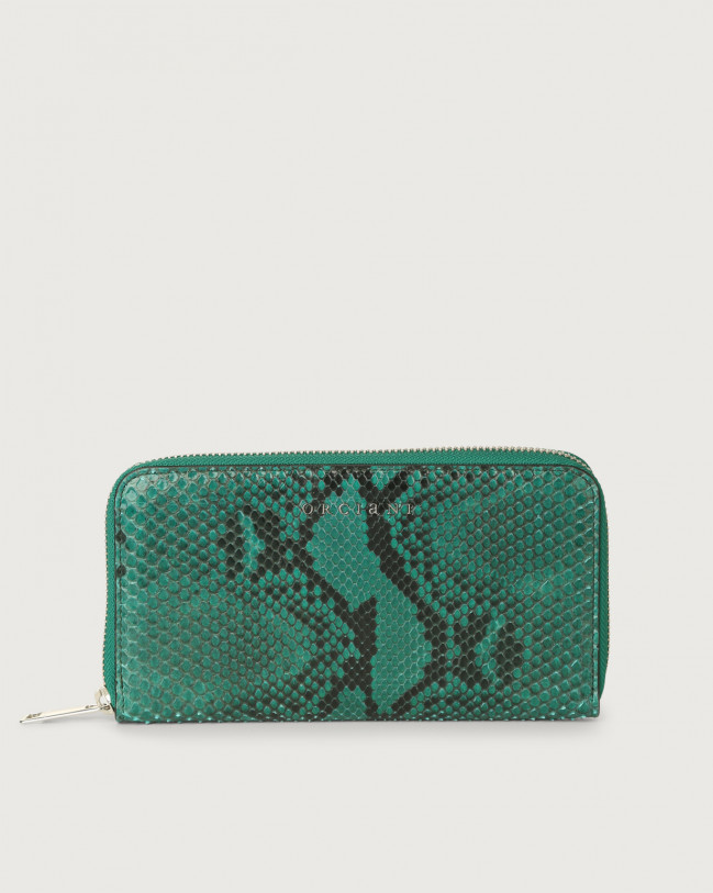 Orciani Diamond large python leather wallet with zip Python Leather Emerald Green