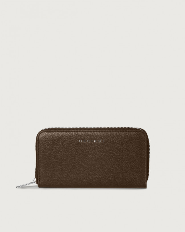 Orciani Micron large leather wallet with zip and RFID Leather Brown