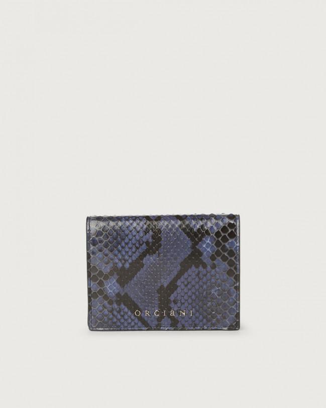 Orciani Diamond small python leather wallet Python Leather Deep Blue