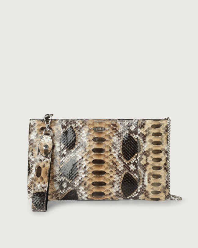 Orciani Naponos python leather pouch with wristband Python Leather Sand