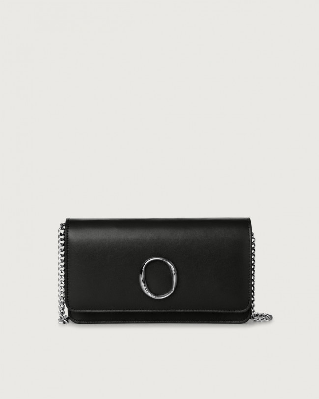 Orciani Liberty leather pochette with RFID Leather Black