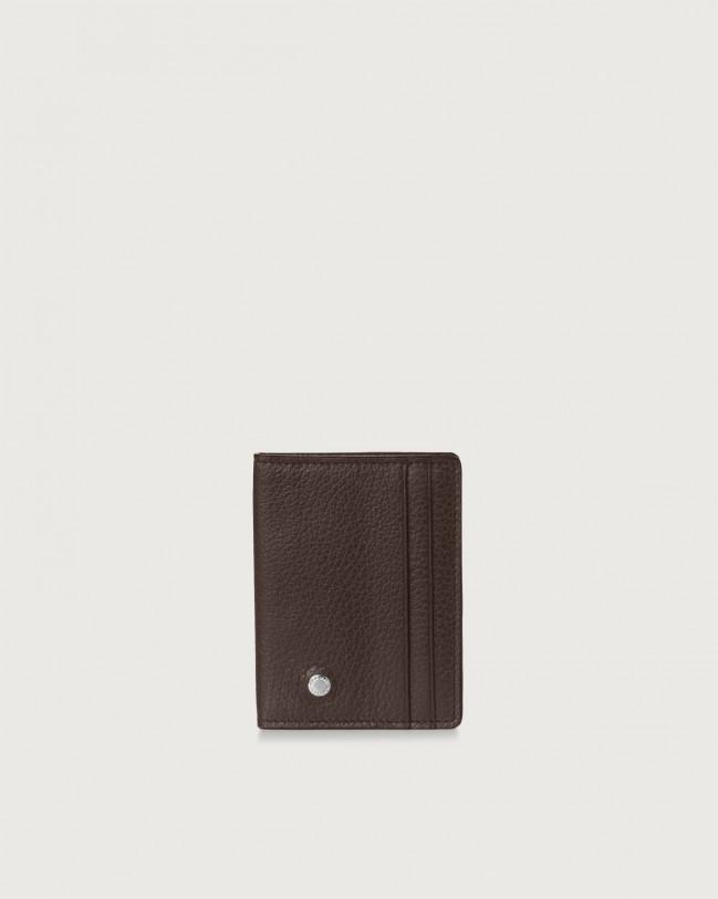 Orciani Micron hinge opening leather card holder Leather Chocolate