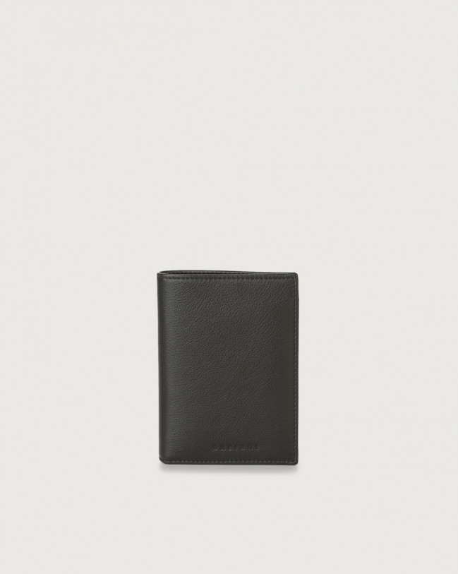 Orciani Liberty leather vertical wallet Leather Chocolate