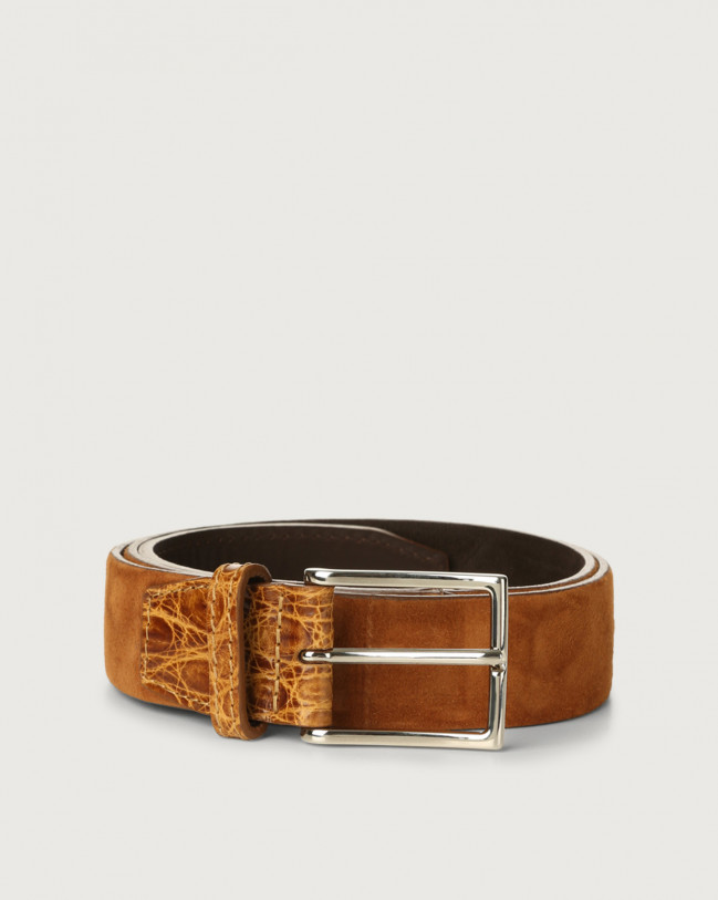 Orciani Camoscio cocco suede and crocodile leather belt Crocodile Leather, Suede Honey