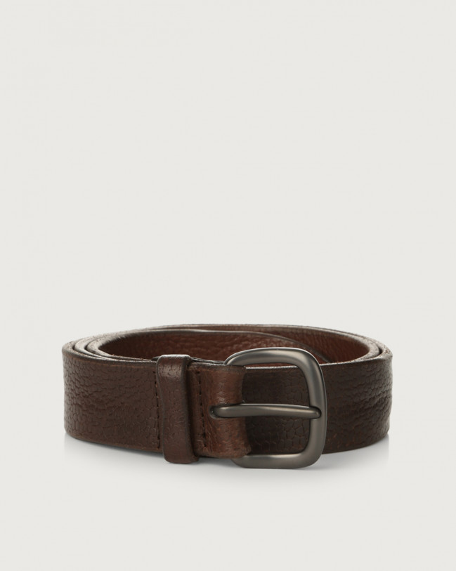 Orciani Grit leather belt Embossed leather Chocolate