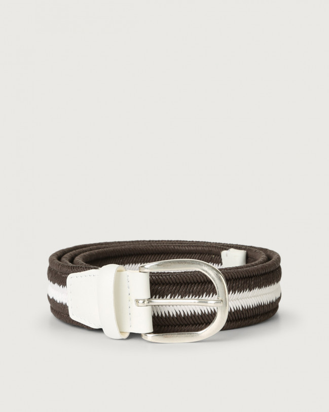 Orciani Elast Duo woven stretch cotton belt Leather & cotton Chocolate