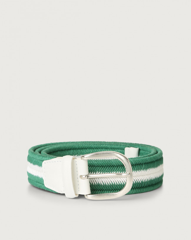 Orciani Elast Duo woven stretch cotton belt Leather & cotton Green