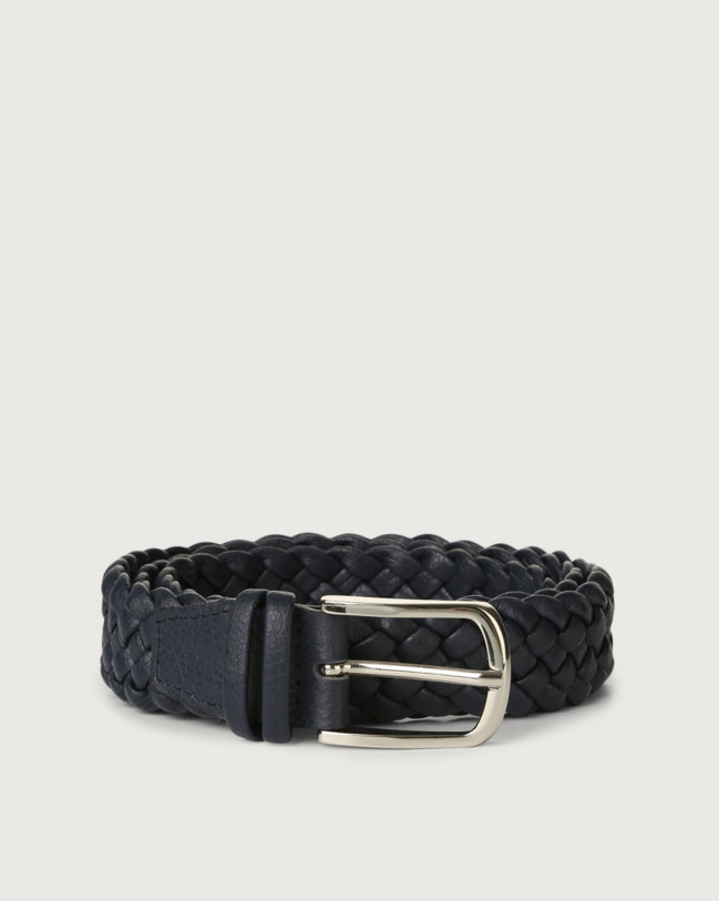 Orciani Micron braided leather belt Navy
