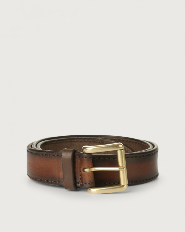 Orciani Buffer leather belt with brass finish roller buckle Leather Cognac