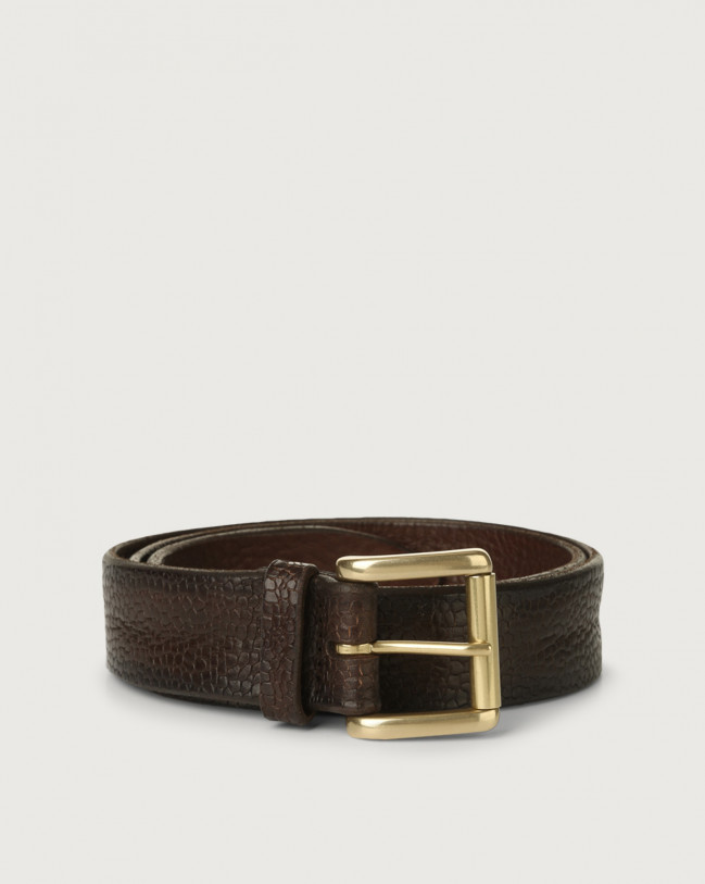 Orciani Grit leather belt with roller buckle Embossed leather Chocolate