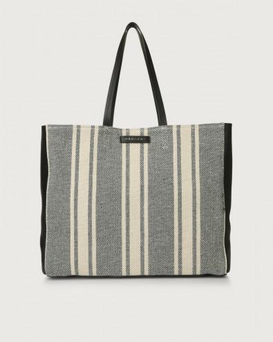 Le Sac Canvas fabric and leather tote bag