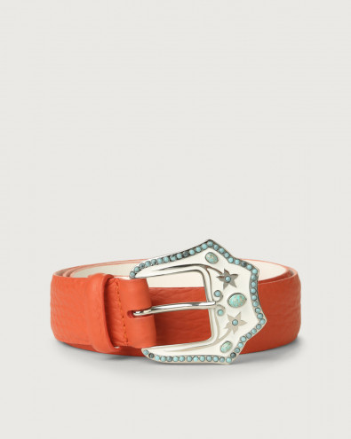 Soft leather belt with jewel buckle