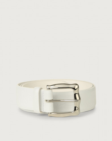 Kindu croc-effect leather belt 3,5 cm