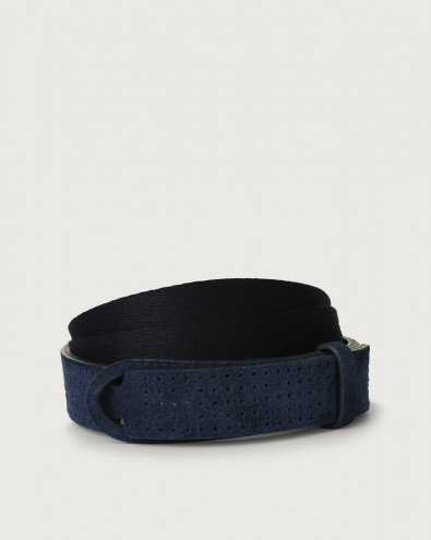 Suede and fabric Nobuckle belt