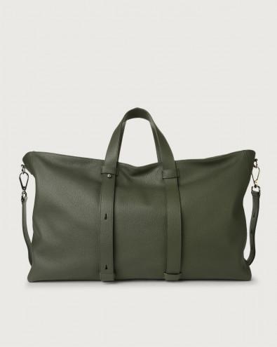 Micron large leather weekender bag