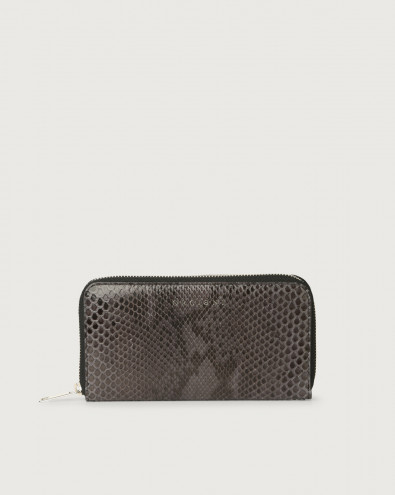 Diamond large python leather wallet with zip