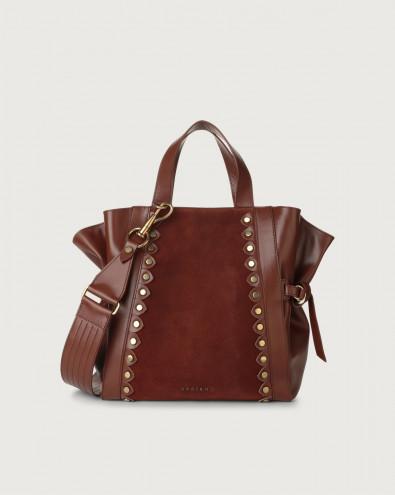 Fan Duna Stud medium suede and leather handbag