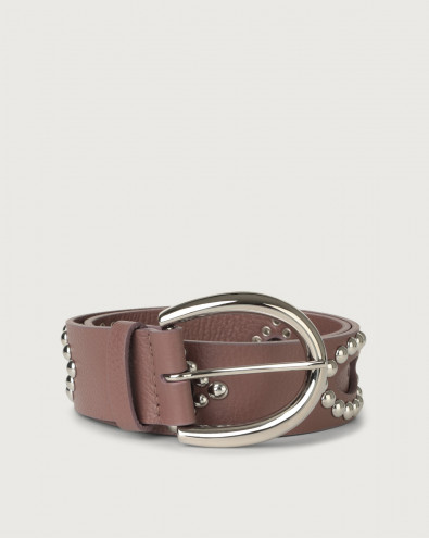 Micron leather belt with studs