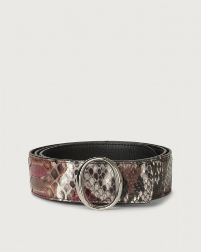 Naponos python leather belt with monogram buckle